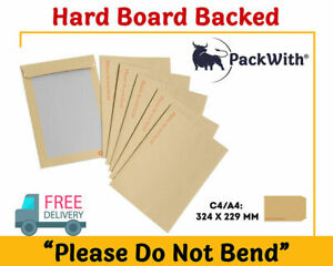 PLEASE DO NOT BEND HARD CARD BOARD BACKED MANILLA ENVELOPES BROWN A4