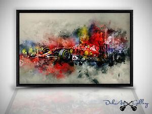 Wandbild Leinwand Bild Ferrari Sportwagen Formel 1 in Schattenfugenrahmen W0522