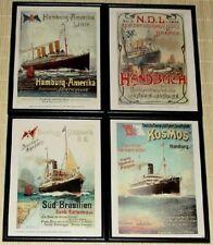 4x Farbdrucke nach Original-Plakaten Schifffahrt, Reederei, Postdampfer, Lloyd