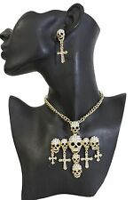 New women gold necklace jewelry set metal chain skeleton skull cross charm bling