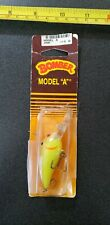 NEW OLD STOCK VINTAGE BOMBER MODEL A FISHING LURE FLOURESCENT YELLOW/SCALES