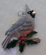 ddd Very special Godmother CHRISTMAS CARDINAL ORNAMENT ganz holly berry