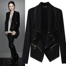 UK Womens Biker Top Cardigan Ladies Winter Warm Parka Jacket Asymmetric Outwear