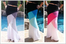 Maya Antonia - PLUS SIZE - Color-Block Slimming Maxi Skirt - Extra Long