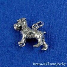 .925 Sterling Silver Miniature Schnauzer Dog Charm Pendant