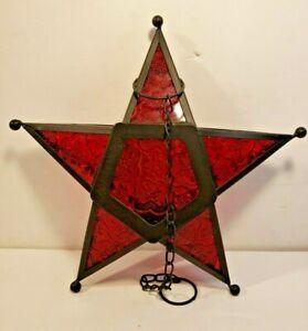 Hanging Glass Metal Star Candle Holder Moroccan Style Lantern Tea Light M