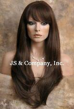 Human Hair Blend Wig Long Straight Face Frame Light Brown Heat safe WIL 6