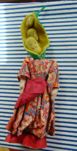 Pea Headed Doll Anthropomorphic Feed Sack Paper Mache Shoes Italy