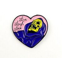 Skeletor Enamel Pin - Live Laugh Love Heart Pin He-Man Pin Funny Pin Nostalgic