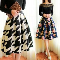 Vintage Stretch High Waist Plain Skater Flared Pleated Women Long Skirt Dress