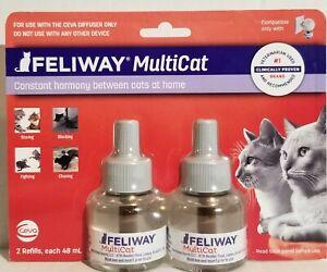 Feliway Multicat Diffuser Refill 48 Ml Cat Constant Calming 2 Refills-Sealed