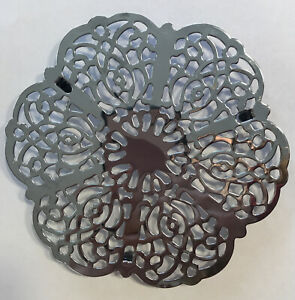 Vintage Trivet Irvinware Silver Chrome Scallop Snowflake Footed Irvin Ware USA