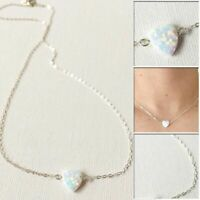 Silver or Gold Plated Faux White Opal Heart Cute Pendant Fashion Necklace Gift