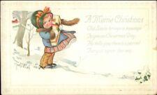 Charles Twelvetrees Christmas Little Girl w/ Gift  c1915 Postcard