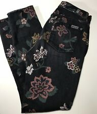 Seven 7 FOR ALL MANKIND Women's Size 25 Skinny Jeans with Raw Hem Floral Print