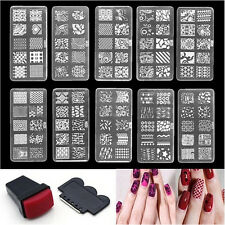 Nail Art Stamp Stencil Stamping Template Plate Set Tool Stamper Design Kit GS