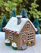 Miniature FAIRY GARDEN Mini CHRISTMAS Light Up Gingerbread House Gnome Holidays