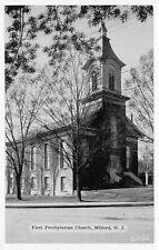 Milford New Jersey~First Presbyterian Church~1940s B&W Postcard
