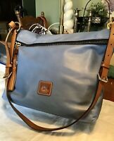 EUC Dooney Bourke Dixon Smooth Leather Hobo Sac Tote Crossbody Shoulder Bag Blue