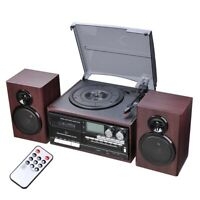 Wireless StereoRecord Player System Turntable AM/FM CD Cassette
