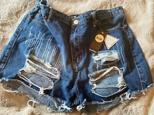 Boohoo Distressed Denim Shorts - Size 20 - New with Tags