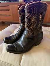 Vintage Black Inlay Acme Cowboy Boots 1950's 50's
