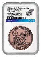 1969-2019 Apollo 11 Robbins Medal 1 oz Copper Medal NGC GEM Unc FDP SKU55229