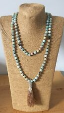 Fashion Summer long knot Amazonite Necklace w Tassle woman jewelry gift