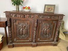 More details for antique oak carved sideboard