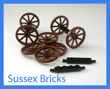 Lego Castle - 8x Cart Wagon Wheels and Axles - Pirates Brand New Pieces