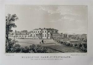 MIDDLETON PARK, CO. WESTMEATH, IRELAND, Fine 1854 Original Lithograph Print