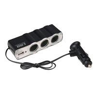 3Way 12v Car Cigarette Lighter Power Socket Charger Adapter+USB Port Charger UK