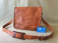 "Handmade Goat Leather 13"" FMR Padded Laptop Flap Bag Billy Goat Designs"