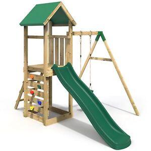 Rebo Adventure Playset Wooden Climbing Frame, Swing Set and Slide - Rushmore
