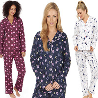 Ladies Winceyette Pyjamas 100% Cotton Womens brushed  Flannel Nightwear PJs Set