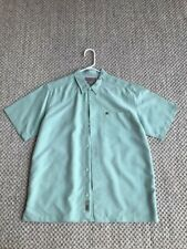 VINTAGE QUIKSILVER Boy's XL Rayon/Polyester Short Sleeve Shirt Green Button-Up