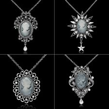 Cameo Queen Flower Beauty Head Crystal Pendant Necklace Wedding Jewellery Gift