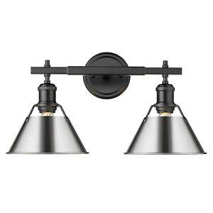 Golden Lighting Orwell 4.875 in. 2-Light Black Vanity Light with Chrome Shade