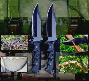 Clip Point Knife Serrated Fixed Blade Hunting Tactical Military Combat G10 Black