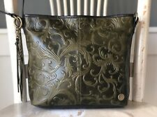 TIGNANELLO Olive Green Embossed Leather Crossbody Messenger Shoulder Purse EUC!