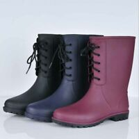Women's Mid Calf Lace up Rubber Rain Boots Outdoor Waterproof Wellies Flat Shoes