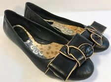 BORN Women's BLACK Leather Bow Slip Ons Ballet Flats Loafers Shoes 7.5 M/W US