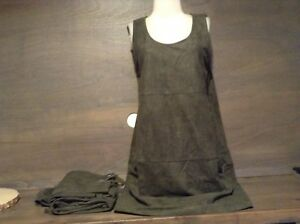 Womens LUMIERE BEAUTIFUL Faux Suede GREEN Dress S M L NEW NWT SLEEVELESS