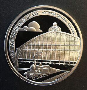 Belgium - Silver 10 Euro Coin - 'Antwerpen-Centraal railway' - 2017 - Proof