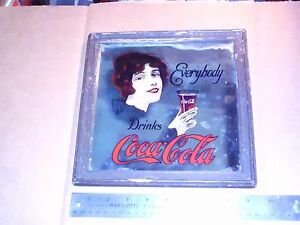 RARE DRINK COCA COLA CENT SODA FOUNTAINS BAR MIRROR FRAMED IN WOOD 70's damaged
