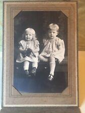 Antique Vtg Edwardian Children Portrait Black White Boy Girl Dressing Gown Teddy