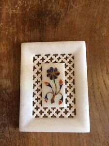 """Inlaid Pierced Marble Dish Tray Soap Dressing Table Trinket 4 X 3.25"""" UK Seller"""