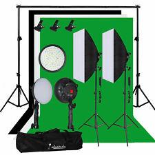 Photography Studio 60W LED Softbox Video Lighting Kit Backdrop Background Stand