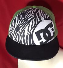 DC shoe Vintage Snap Back Trucker Cap Hat Mesh Zebra Stripe Green White Black