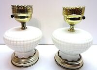 Vintage Pair of White Hobnail Electric Oil Table Lamps